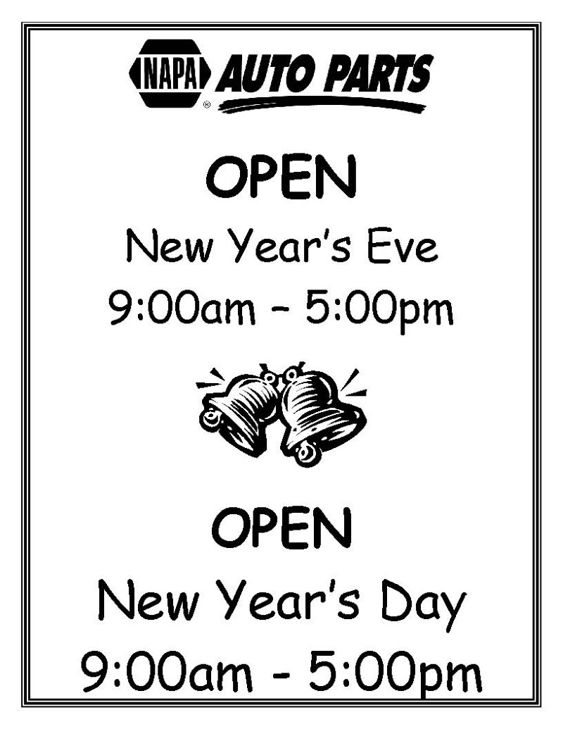 2018 NEW YEARS DAY HOLIDAY HOURS